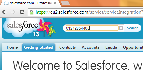 Salesforce number search