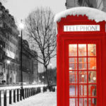 Red telephone box at winter