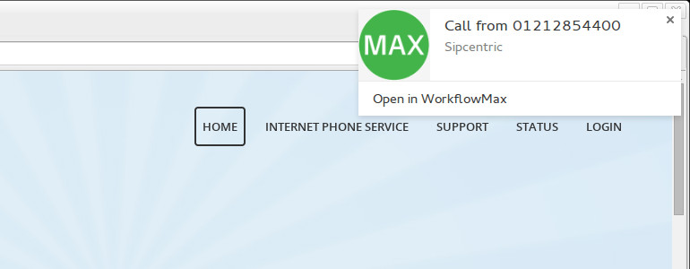 Sipcentric - WorkflowMax integration